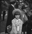 Hayward, California. A young member of an evacuee family awaiting evacuation bus. Evacuees of Jap . . . - NARA - 537509.tif