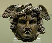 Meduzina glava, bronca, rimska umjetnina, 1. stoljeće
