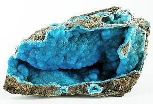 Hemimorphite - Blue vug-filling hemimorphite from Wenshan, Yunnan Province, China (size: 9.2 x 4.8 x 3.1 cm)