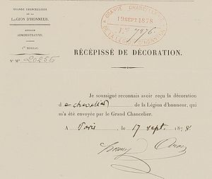 Henry Aron - Aron's signature on his acceptance of the Legion of Honor in 1878