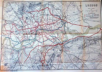 London sewerage system - Map of the London sewerage system from 1882.