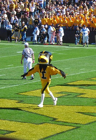 Herky the Hawk - Herky in Kinnick Stadium.