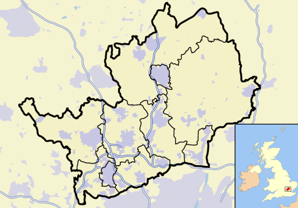 Hertfordshire outline map with UK