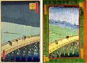 A la izquierda, grabado de Hiroshige repr esentando El puente Ōhashi en Atake bajo una lluvia repe ntina; a la derecha, copia de Van Gogh de este grabado ja ponés: Japonaiserie: Puente bajo la lluvia, 1887, óleo  sobre lienzo, 73 x 54 cm, Rijksmuseum, Fundación Van Gog h, �msterdam