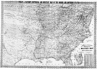 Border states (American Civil War) - Image: Historical and military map of the border and southern states. Phelps & Watson, 1866
