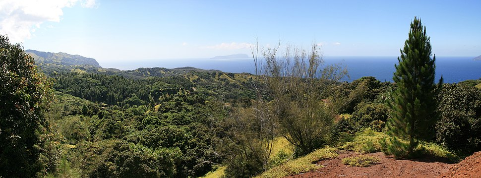A view of Hiva Oa, towards the south-west, with Moho Tani island visible in the distance.