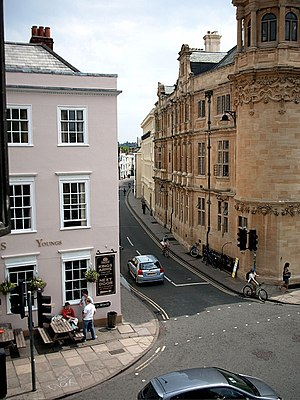 Holywell Street - View from the west end of Holywell Street looking east with the King's Arms public house on the left and the Indian Institute on the right.