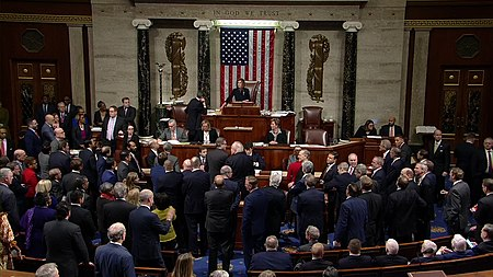 Members of House of Representatives vote on two articles of impeachment (H.Res. 755), December 18, 2019 House of Representatives Votes to Adopt the Articles of Impeachment Against Donald Trump.jpg