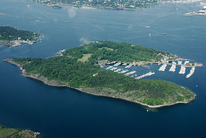 National Internment Camp for Women in Hovedøya - Aerial photo of Hovedøya today.  The camp was located in the clearing at the narrowest part of the island.