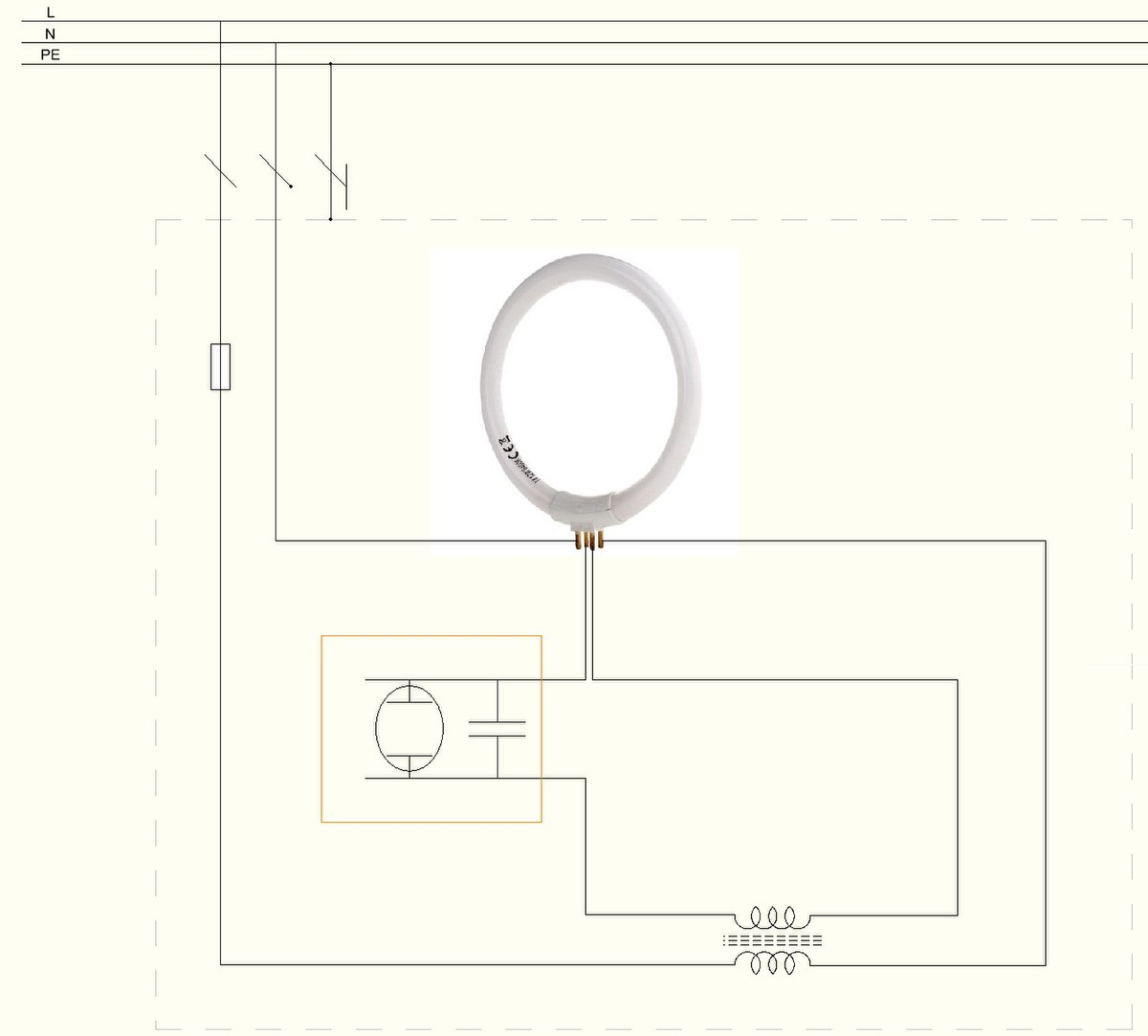 File:How to wire circular fluorescent lamp.JPG - Wikimedia Commons | Tube Light Wiring Diagram |  | - Wikimedia Commons