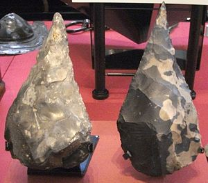 John Frere - The Hoxne Handaxe (right) next to the Gray's Inn Lane Handaxe in the British Museum