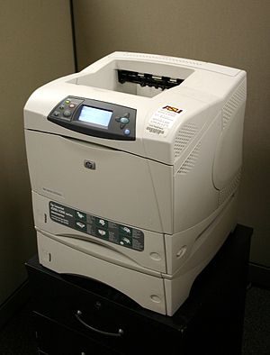 Laser printing - HP LaserJet 4200 series printer, installed atop high-capacity paper feeder