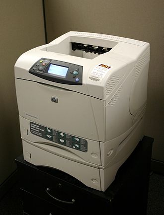 Laser printing - HP LaserJet 4200 series printer, installed atop high-capacity paper feeder