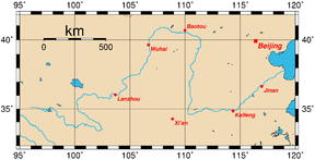 Course of the Yellow River with major cities