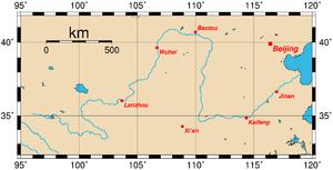 Localização do Rio Amarelo (Huang He)