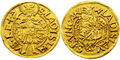 Hungary Vladislaus II ducat gold coin 1491, mintmaster Bartolomeu Drágfi de Beltiug.png