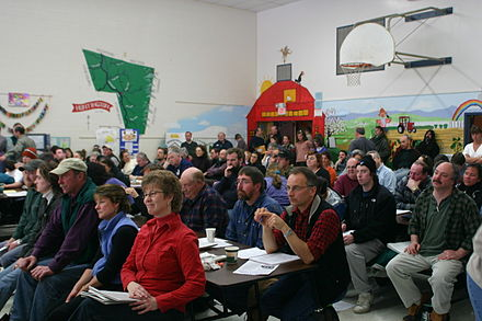 A New England town meeting in Huntington, Vermont Huntington town meeting.jpg