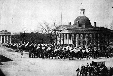 Union Army troops occupying Courthouse Square in Huntsville, following its capture and occupation by federal forces in 1864 Huntsville Courthouse Square 1864.jpg