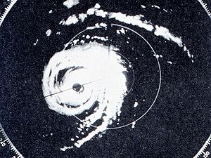 History of Atlantic hurricane warnings - Radar image of Hurricane Donna (1960)