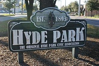 Hyde Park, Montrose, Houston - Hyde Park sign