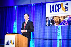 Speaking at the IACP conference, 2016 (Image: FBI)