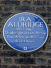 IRA ALDRIDGE 1807-1867 Shakespearian Actor 'The African Roscius' lived here.jpg