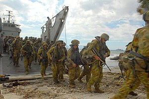 Balikpapan-class landing craft heavy - Australian troops landing in East Timor 2006, using HMAS Balikpapan