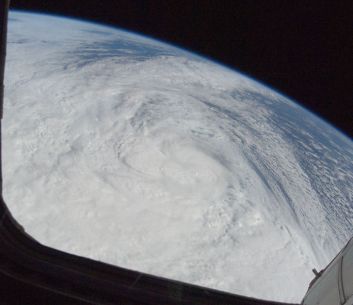 One of the Expedition 33 crew members aboard the International Space Station took this photo of Hurricane Sandy at 16:55:32 GMT on Oct. 29, 2012. East is generally at the top of the photo, south to the right. At the camera time of the photo Sandy was located by the National Hurricane Center at approximately 37.5 degrees north latitude and 71.5 degrees west longitude or 25 miles southeast of Atlantic City, New Jersey moving north-northwest at 18 miles per hour and packing winds of 90 miles per hour.