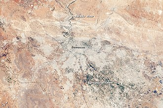 Damascus - Annotated view of Damascus and surroundings from space.