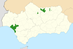 Iberian lynx distribution in Andalusia, Spain (end of 2011).png