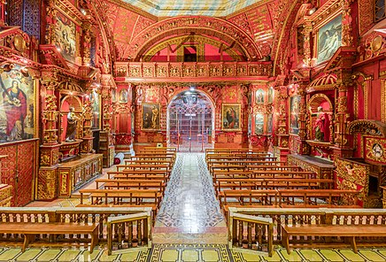 General view of the chapel of the Rosary in St Domingo church in the Historic Center of Quito, Ecuador.