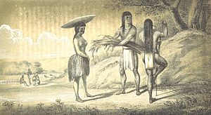 Mohave people - 1851 drawing of Mohavi men and women made by Lorenzo Sitgreaves' topographical mission across Arizona in 1851.