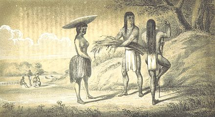 1851 drawing of Mohavi men and women made by Lorenzo Sitgreaves' topographical mission across Arizona in 1851. Image taken from page 64 of 'Report of an expedition down the Zuni and Colorado Rivers by Captain L. Sitgreaves (11041216516) (cropped).jpg