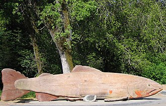 Bear Creek (San Francisquito Creek) - The sculpture of the Indomitable salmon, installed March 5, 1974 at the Prairie Creek Fish Hatchery, currently outside Buck's of Woodside restaurant in San Mateo County, California.