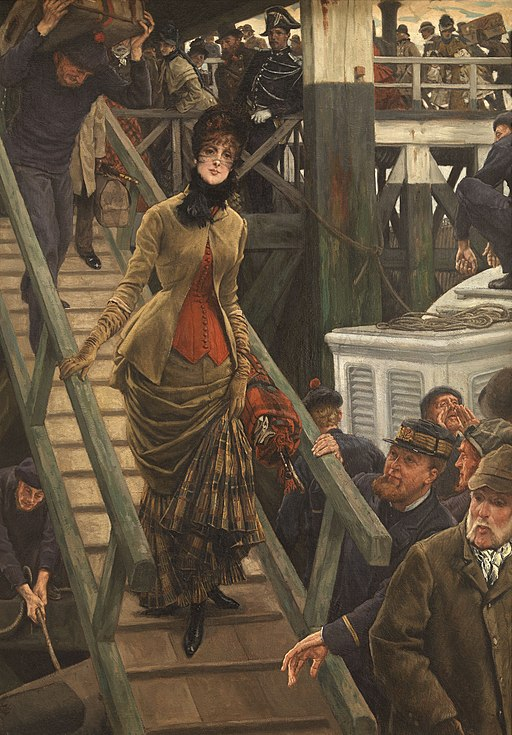 """Embarkation in Calais"" by James Tissot"
