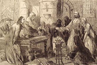 Jacques de Molay - Interrogation of Jacques de Molay. 19th century print