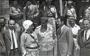 Iraqi–Kurdish Autonomy Agreement of 1970 - Saddam Hussein and Mustafa Barzani meeting on 10 March 1970, before the signing of the Iraqi-Kurdish Autonomy Agreement of 1970 on 11 March.
