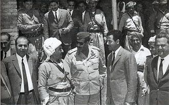 Iraqi–Kurdish Autonomy Agreement of 1970 - Saddam Hussein and Mustafa Barzani meeting in Nawperdan on 10 March 1970, before the signing of the Iraqi-Kurdish Autonomy Agreement of 1970 on 11 March.