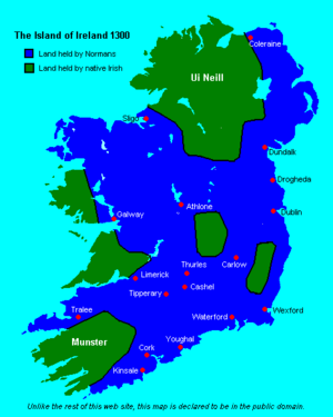 Normans in Ireland - Ireland in 1300 showing maximum extent of Hiberno-Norman control