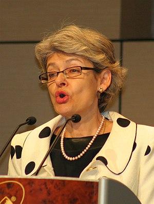 Deutsch: UNESCO-Chefin Irina Bokowa bei der Er...