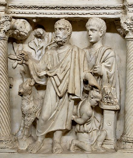 16th century plaster cast of a late Roman era Sacrifice of Isaac. The hand of God originally came down to restrain Abraham's knife (both are now missing). Isaac sarcifice Pio Christiano Inv31648.jpg