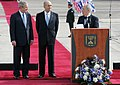 Israel's President Shimon Peres speaks to President George W. Bush during remarks at ceremonies welcoming him to Israel.jpg