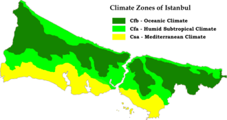 Microclimates of Istanbul according to Koppen-Geiger classification system Istanbul Koppen Map.png