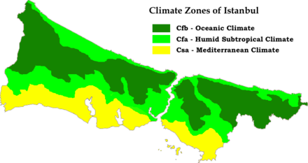 Microclimates of Istanbul according to Köppen–Geiger classification system Istanbul Köppen Map.png