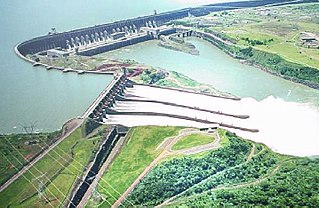 Hydroelectric dam on the Paraná River on the border between Brazil and Paraguay