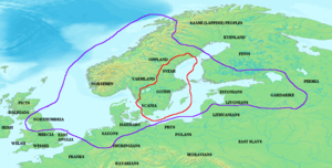 Ivar Vidfamne - Map showing the possible extent of Ivar Vidfamne's realms. The kingdom of Ivar Vidfamne (outlined in red) and other territories paying him tribute (outlined in purple), as it may be interpreted from the stories about Ivar Vidfamne in the sagas.