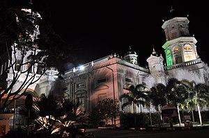 Abu Bakar of Johor - The Sultan Abu Bakar State Mosque at night.