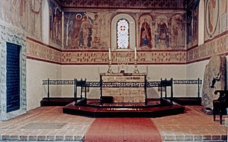 Jelling stones - Interior of Jelling Church, showing frescos dating from 1125