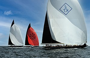 J-class yacht - J Class Yachts Velsheda, Topaz and Svea downwind legs by Don Ramey Logan