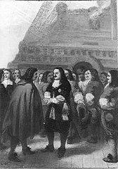 Anno 1673. Michiel de Ruyter ontvangt Cornelis Tromp met pruik en Oranje-kokarde